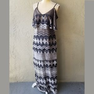 Sugar + L!ps Velvet Pattern Ruffle Top Maxi Dress